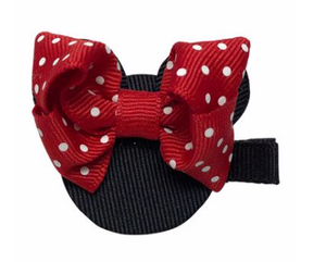 Red Dot Minnie 2 Alligator Clip Bow