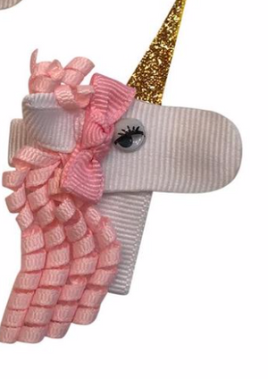 Pink Unicorn 1 Alligator Clip Bow