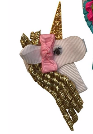 Gold Unicorn 1 Alligator Clip Bow