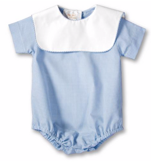 Baby Blue Gingham Bubble with Square Collar