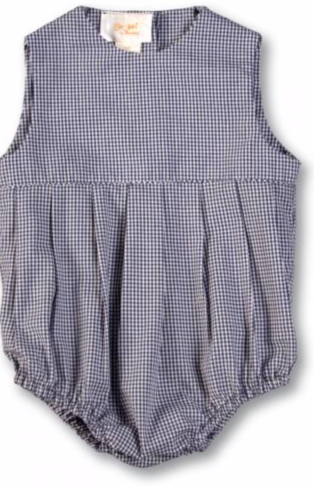 Navy Gingham Pleated Front Bubble