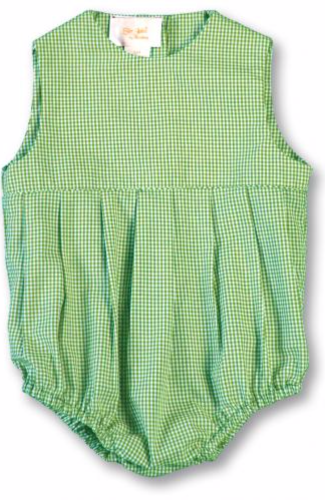 Green Gingham Pleated Front Bubble
