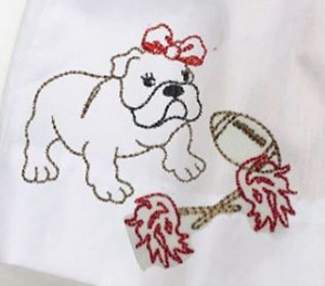 Embroidery Add On: Bulldog Puppy with Bow Embroidery