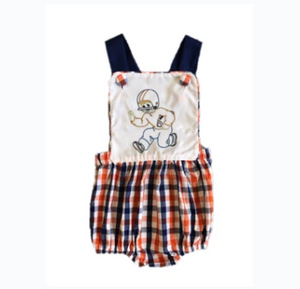 Navy and Orange Plaid Sunsuit