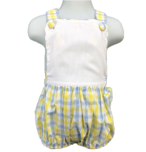 Sunsuit: Yellow & Baby Blue Plaid Blank