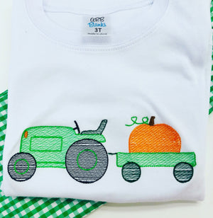 Embroidery Add On:  Green Tractor with Pumpkin Wagon