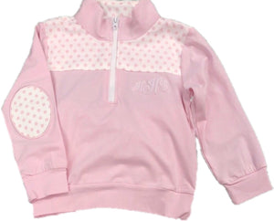 Pink Dot Knit Zipper Jacket Top