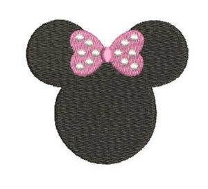 Embroidery Add On: Black Minnie Head with Pink Dot Bow