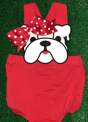 Polka Dot Bow Bulldog Sunsuit