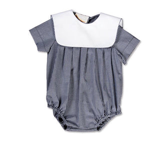 Navy Gingham Boy Bubble with Square Collar