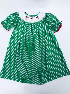 Smocked Santa Green Dot Dress