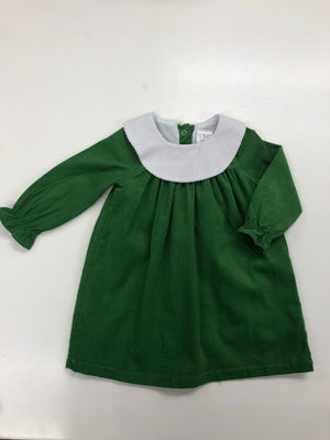 Green Corduroy Bishop Dress with Round Collar with Monogram