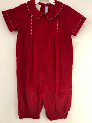 Red Cord Romper with Red Check Piping