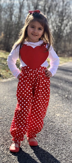 Polka Dot Heart Bow Romper