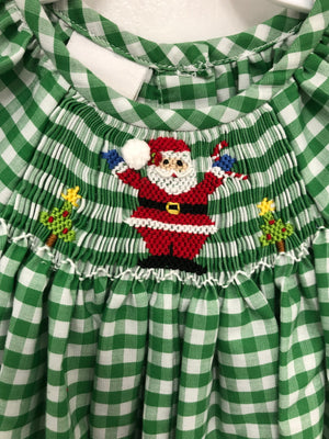 Smocked Santa Green Check Romper