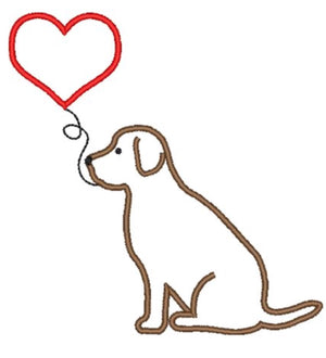 Embroidery Add On : Puppy with Heart Balloon
