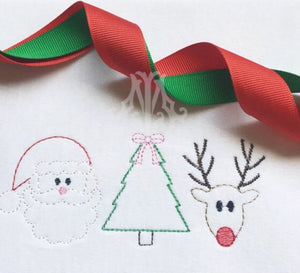 Embroidery Add On: Vintage Stitch Santa Tree Reindeer Trio
