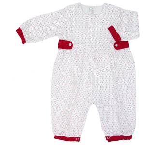 Red Mini Dot Knit Romper With Tabs