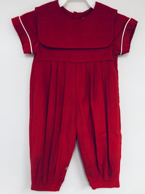 Red Corduroy Boy Romper with Red Collar