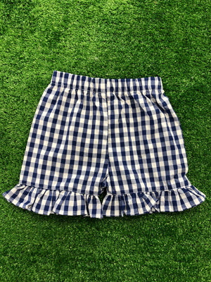 Classic Navy Gingham Ruffled Shorts