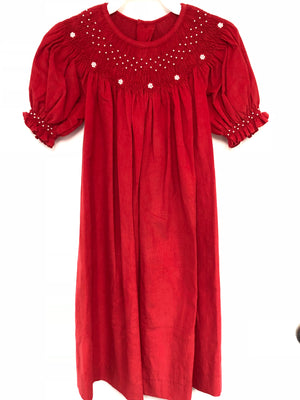 Red Corduroy Bishop Dress with Pearl Detail