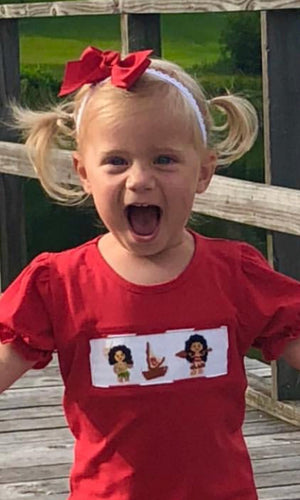 Moana Inspired Smocked GIRL Tee
