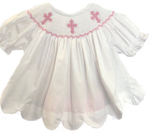 Smocked Cross White Mini Dress ONLY