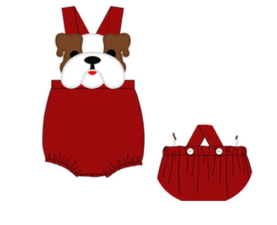 Bulldog Maroon Sunsuit