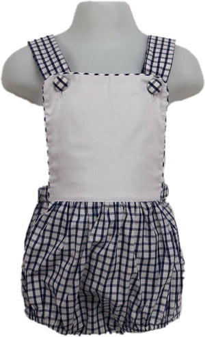 Sunsuit: Navy Windowpane Blank