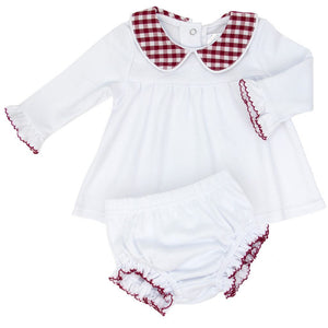 White Knit Dress with Garnet Check Collar & Bloomer