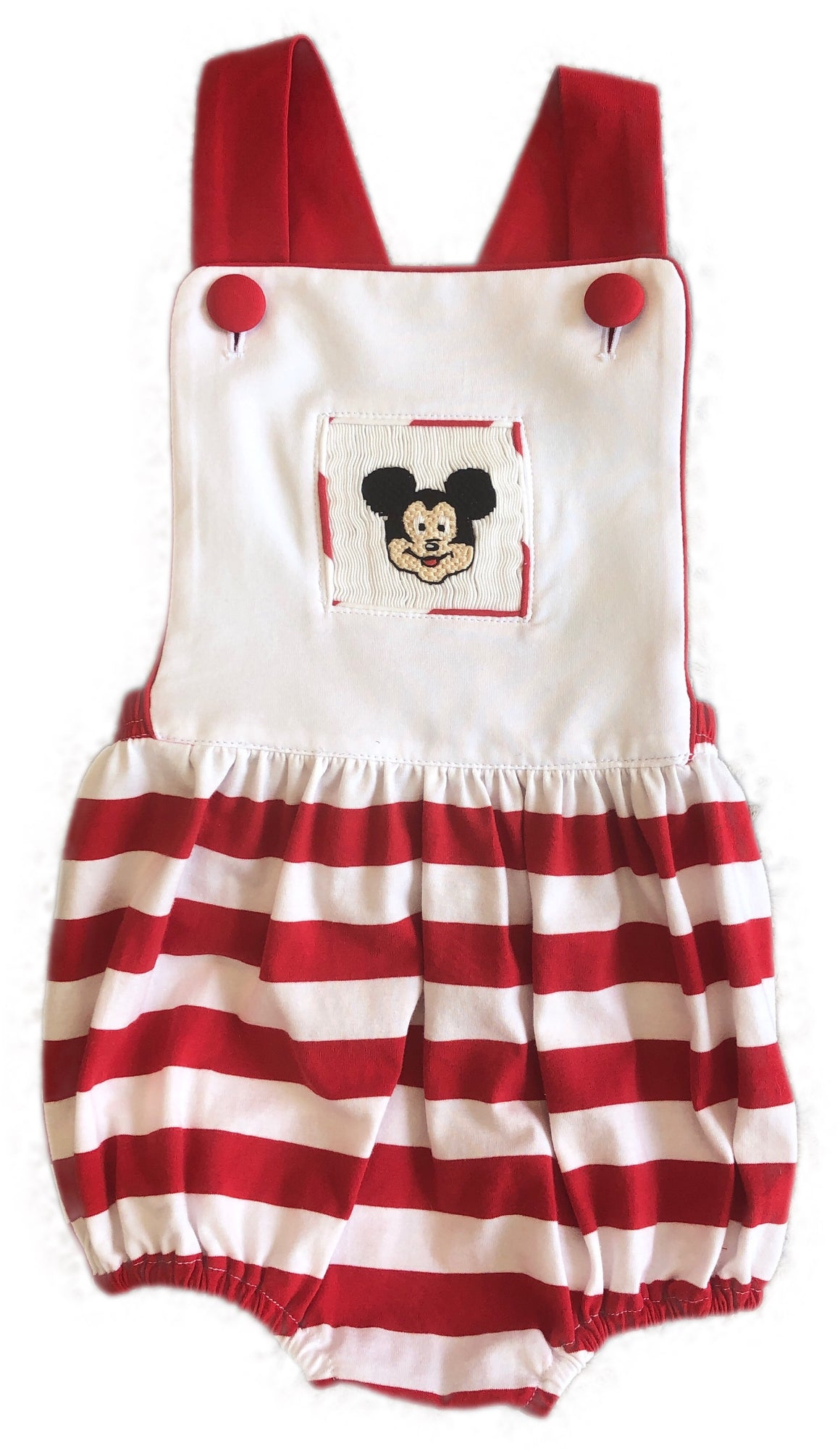 Mouse Smocked Red Stripe Knit Sunsuit