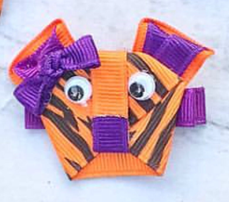 Orange and Purple Tiger Bow on Alligator Clip