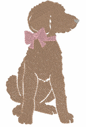 Embroidery Add On : Pink Bow Puppy