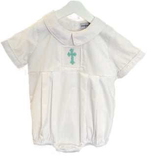 Smocked Mint Cross Boy Bubble