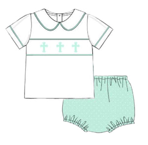 Smocked Cross PP Shirt & Mint Swiss Dot Bloomer