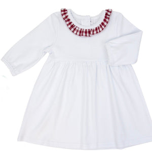 White Knit Dress with Crimson Gingham Collar