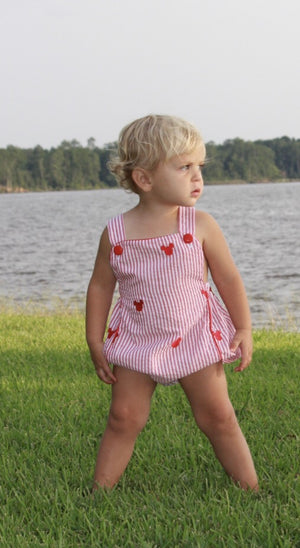 Mouse Embroidered Red Stripe Sunsuit