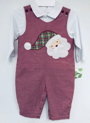 Santa Applique Red Gingham Longall with Shirt