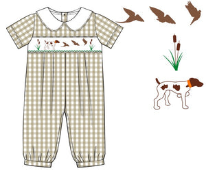 Special Order: Pointer Dog Khaki Romper
