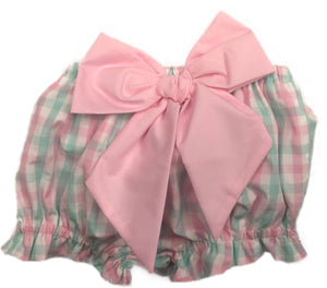 Pink and Mint Plaid Bow Bloomer