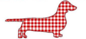 "Add On Appliqué: 4"" Red Gingham Dachshund"