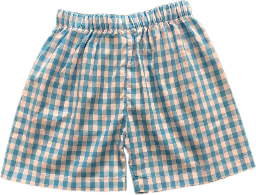 Shorts: Turquoise Gingham- In Stock