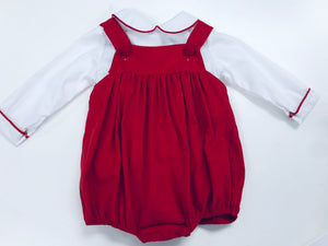 Red Corduroy Bubble Romper and Shirt