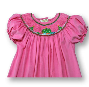 Pink Corduroy Smocked Tree Bishop Dress