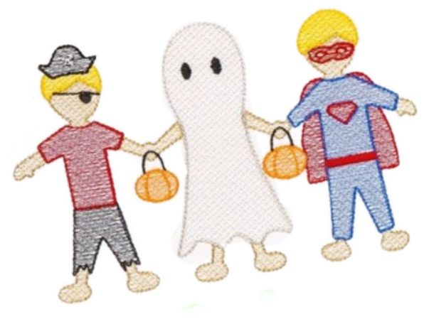 Embroidery Add On: Halloween Boy paper dolls