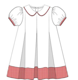 Red and White Puff Sleeve Dress