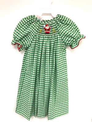 Smocked Santa Green Check Bishop Dress