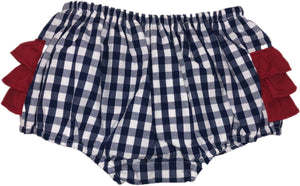Classic Navy Gingham Bloomers with Red Ruffles