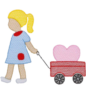 Embroidery Add On: Valentine Girl and Wagon