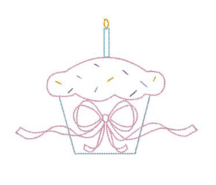 Embroidery: Bow Cupcake - One candle